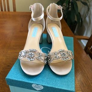 Betsy Johnson Champagne and Silver Sandals